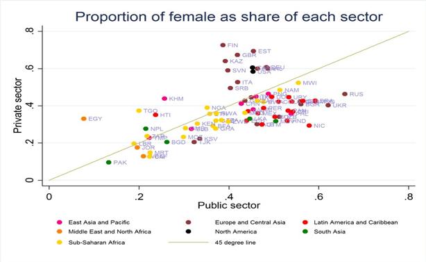 Cinco hechos sobre la igualdad de género en el sector público.