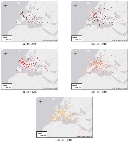 Localización de los conflictos, 1400-1900