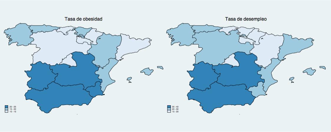 """Nota: La """"Tasa de obesidad"""" refleja el porcentaje de la población de una determinada región cuyo índice de masa corporal supera los 30 kilos/m2. Fuente: Encuesta de Población Activa (2013) y Encuesta Nacional de Salud (2012)."""