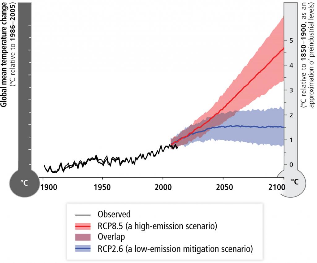 Evolución de la temperatura media, 1900-2100